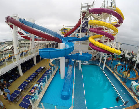 The water park on Deck 15 on the new Norwegian Cruise Lines ship Breakaway, making its first docking at Port Canaveral, Tuesday, October 15, 2013. (Joe Burbank/Orlando Sentinel) B583258058Z.1