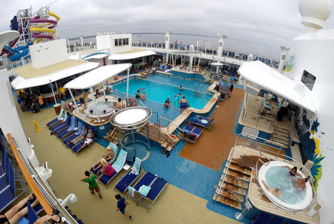 The adult pool on Deck 15 on the new Norwegian Cruise Lines ship Breakaway, making its first docking at Port Canaveral, Tuesday, October 15, 2013. (Joe Burbank/Orlando Sentinel) B583258058Z.1