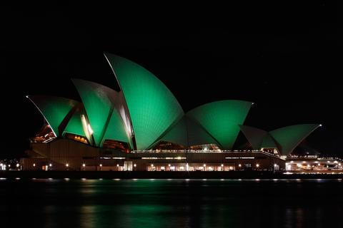 The Sydney Opera House is illuminated green on March 17, 2012 in Sydney, Australia. The Sydney Opera House joins Sky Tower in Auckland, and Table Mountain in South Africa in going green to celebrate St. Patrick's Day.