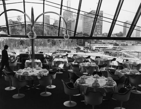 The Bennelong Room restaurant at the Sydney Opera House, with a view down Macquarie Street, 24th July 1973.