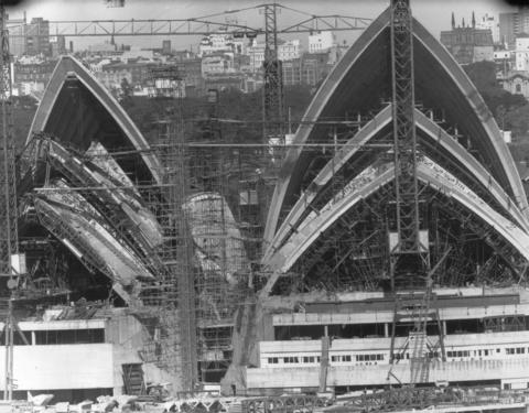 The facade of Sydney Opera House in the final stages of construction.