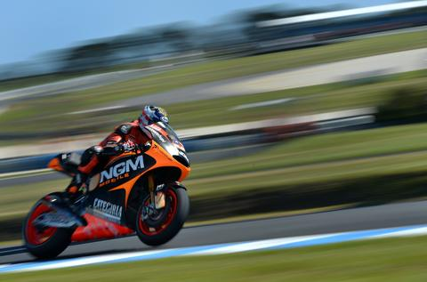 NGM Mobile Forward's US rider Colin Edwards powers his bike during the second practice session of the Australian MotoGP Grand Prix at Phillip Island on October 18, 2013.