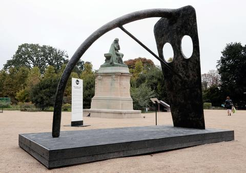 "Scottish artist William Turnbull's ""Large Horse"" is displayed on October 18, 2013 in the ""Jardin des Plantes"" garden in Paris, as part of the outdoor exhibition of the FIAC International Contemporary Art Fair that will run from October 24 to 27."