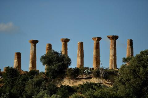 A general view of Temple of Heracles in the Valle dei Templi Park of Agrigento on October 20, 2013 in Agrigento, Italy. Tomorrow a commemoration ceremony will be held for the victims of the boat sinking disaster which killed more than 300 asylum seekers when the boat they were on sank off the Lampedusa coast in San Leone near Agrigento.