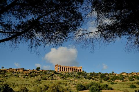 A general view of Temple of Concordia in the Valle dei Templi Park of Agrigento on October 20, 2013 in Agrigento, Italy. Tomorrow a commemoration ceremony will be held for the victims of the boat sinking disaster which killed more than 300 asylum seekers when the boat they were on sank off the Lampedusa coast in San Leone near Agrigento.