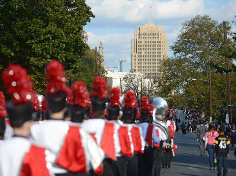 The Parkland High School Marching Band marches down Hamilton Street. The Allentown Halloween Parade took place Sunday afternoon. Thousands lined the parade route which started at the Allentown Fairgrounds and ended at 10th and Hamilton Streets.