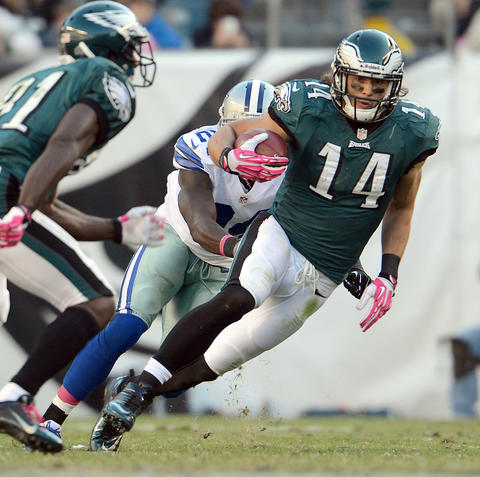 Philadelphia Eagles wide receiver Riley Cooper (14) makes a cut on Dallas Cowboys cornerback Morris Claiborne (24) at Lincoln Financial Field in Philadelphia on Sunday.
