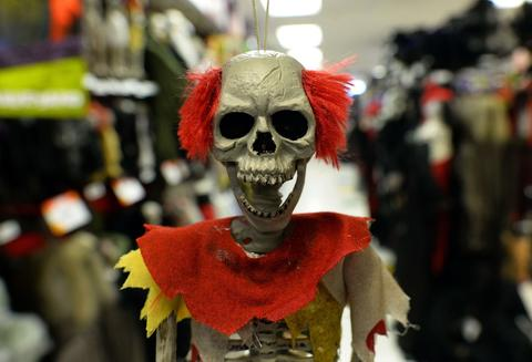 Halloween decorations are displayed at a store in Rockville, Maryland, on October 22, 2013. Halloween, an ancient Celtic pagan rite which is celebrated October 31 every year, originally held to celebrate the dead and the end of the harvest season.