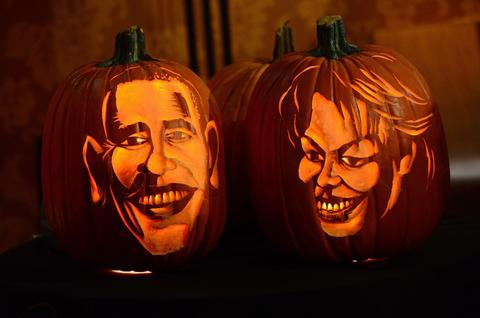 Pumpkins representing US President Barack Obama and First Lady Michelle Obama are on display at Madame Tussauds ahead of Halloween in New York on October 22, 2013.