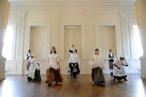 "The Judy Dworin Performance Project ensemble performs a preview of a dance-theater piece called ""The Witching Hour"" at the Old State House Tuesday. It tells the story of women who were accused, tried convicted of witchcraft during the witch craze in 17th century Connecticut."