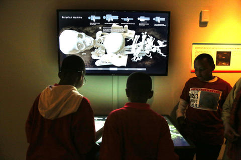 Students from Leif Ericson Elementary Scholastic Academy with Field Museum Anthropolgist Alaka Wali, look at an exhibit on a Peruvian mummy.