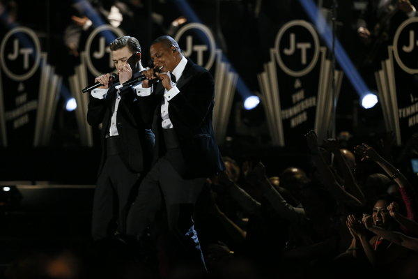Justin Timberlake, left, and Jay Z perform at the 55th Grammy Awards.