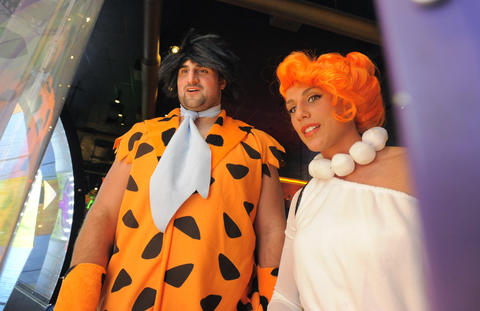 Ravens offensive lineman Gino Gradkowski with girlfriend Adrianna Polimeni at the 14th Annual Goodwill Gridiron Halloween Party.