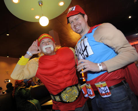 Ryan Dudash and Steve Kozlek of Westminster at 14th Annual Goodwill Gridiron Halloween Party.