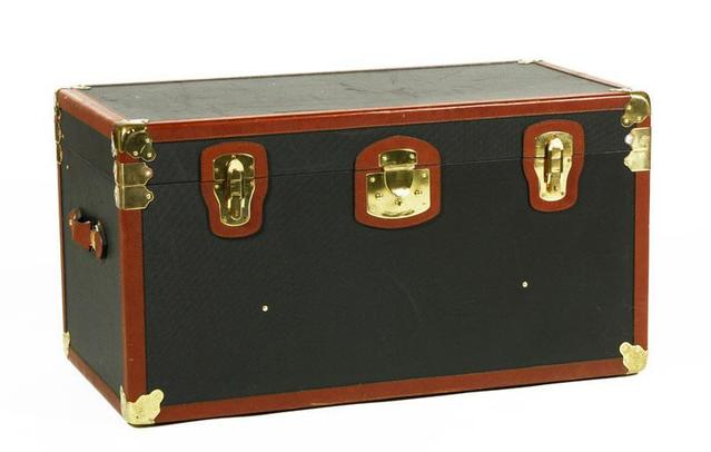 For a bit of designer decor: a black leather and brass steamer trunk from the Italian fashion house Bottega Veneta.Estimate: $1,000 to $2,000Current high bid: $700