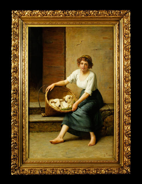 "A romantic oil painting of a girl with a basket of lambs -- a 19th century Italian piece signed E Serra -- also is one of the lots labeled ""property from various fine estates."" Estimate: $6,000 to $8,000 Starting bid: $3,000"