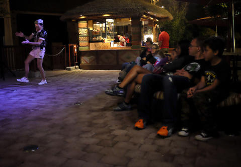 Eddy Maserati dances at Downtown Disney on October 23, 2013.
