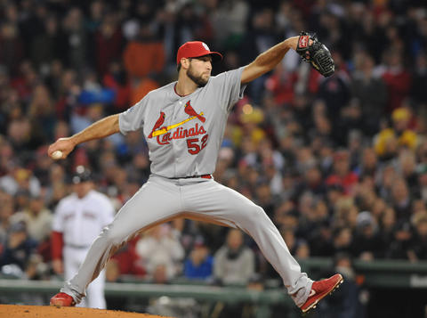 St. Louis Cardinals starting pitcher Michael Wacha, 52, makes a pitch in the bottom of the first inning. The St. Louis Cardinals went down, one, two, three in the first inning.