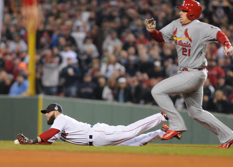 Boston Red Sox second baseman Dustin Pedroia, 15, commits a rare error as St. Louis Cardinals first baseman Allen Craig, 21, is safe going into second in the top of the fourth inning.