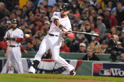 Boston Red Sox center fielder Jacoby Ellsbury, 2, reaches base on a fielding error by Cardinals second baseman Matt Carpenter in the bottom of the fifth inning.