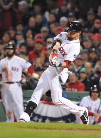 Boston Red Sox center fielder Jacoby Ellsbury, 2, hits a double in the fourth inning. The Red Sox scored three more runs in the bottom of the fourth inning to take a 6-0 lead.