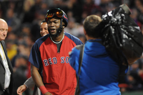Boston Red Sox designated hitter David Ortiz, 34, celebrates after the win.