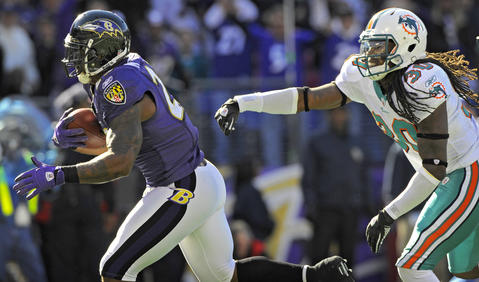 Joe Flacco threw a touchdown pass to Willis McGahee, but Ray Rice carried the bulk of the offensive load, totaling 180 yards from scrimmage.