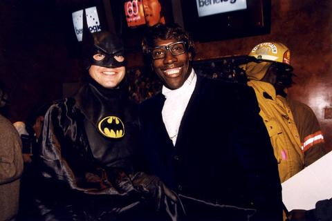Mayor Martin O'Malley (left, as Batman) and Ravens tight end Shannon Sharpe (as Austin Powers) pose at a Halloween Party at the ESPN Zone in 2000.