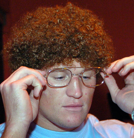 Tight end Todd Heap dressed as Napoleon Dynamite at a Halloween party in 2006.