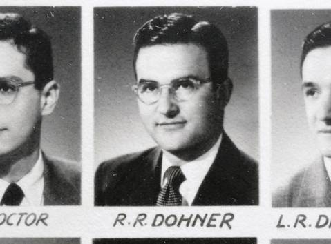Dr. Russell Dohner, now age 87 and still working, appears in a 1953 class photo from Northwestern University Medical School.
