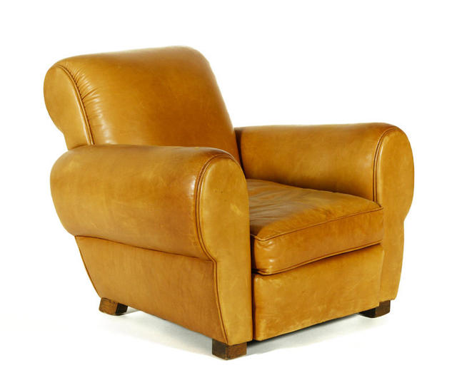 "A pair of 20th century Art Deco leather chairs are among the dozens of lots labeled ""property from various fine estates,"" pieces that are not from Oprah's homes but are included in the sale to raise money for Oprah's girls' academy. Estimate for the pair: $1,000 to $2,000 Current high bid: $500"