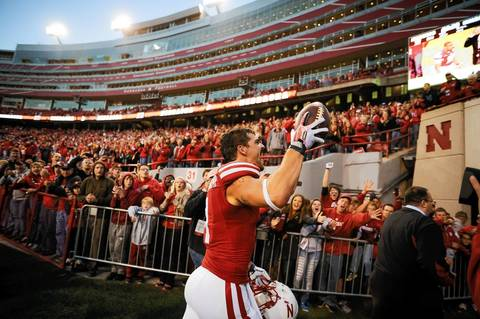 Nebraska wide receiver Jordan Westerkamp, from Montini, leaves the field after defeating Northwestern with a hail mary touchdown catch.