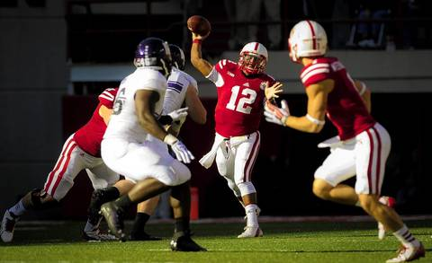 Nebraska quarterback Ron Kellogg III throws the ball to wide receiver Jordan Westerkamp.