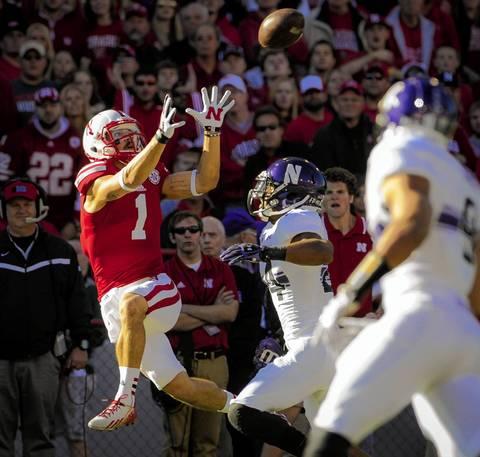 Nebraska wide receiver Jordan Westerkamp catches a pass over safety Ibraheim Campbell.