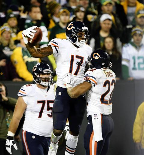 Alshon Jeffery celebrates his touchdown with Matt Forte.