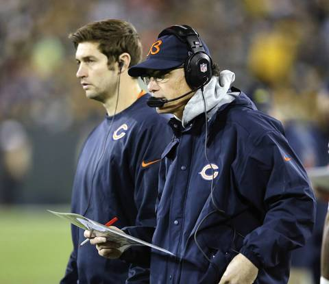 Bears quarterback Jay Cutler and head coach Marc Trestman during the fourth quarter.