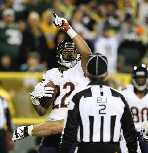 Matt Forte after scoring a touchdown against the Packers during the second quarter.