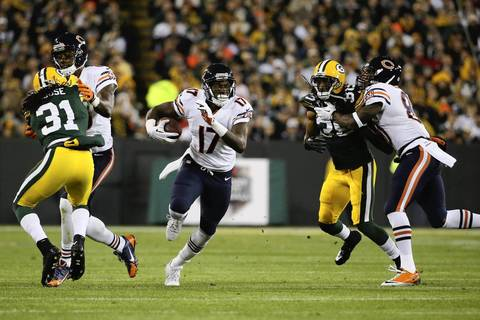 Chicago Bears wide receiver Alshon Jeffery (17) cuts thought the Packers defense during the first half of a football game between the Green Bay Packers and the Chicago Bears.