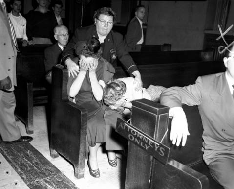 "Deputy Sheriff Jesie Tamillo, back center, comforts Susan Lettrich and her friend after Susan's estranged husband George Lettrich Jr. was convicted of murdering Roberta Rinearson and sentenced to the electric chair on Oct. 18, 1951. Two years later, in 1953, the Supreme Court voided the death sentence saying Lettrich's confession was ""taken by police after he was held incommunicado for 60 hours."""