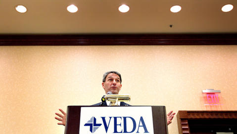 Candidate for Virginia governor Ken Cuccinelli speaks to a gathering of the Virginia Economic Develo