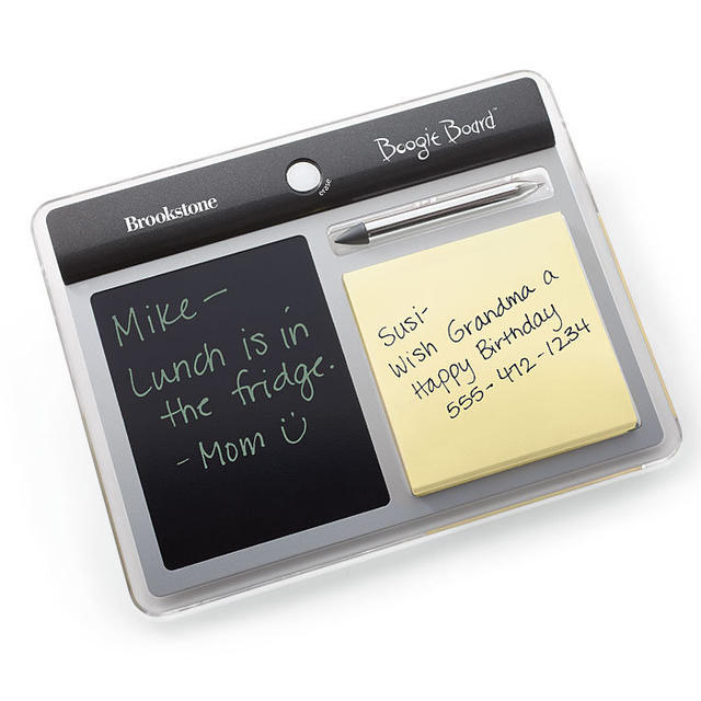 Price: $19.99Description: This unique LCD memo board is a great gift idea. It comes with a two-sided stylus/pen for screen or pad. You can erase LCD notes with the touch of a button with no messy chalk or marker residue.Click here to buy