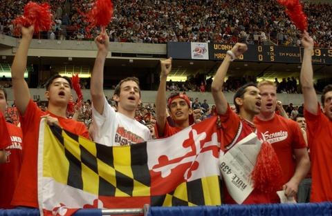 Maryland fans cheer on the Terps.