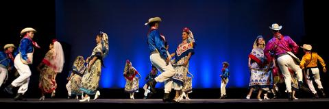 Dancers of Mexico's Folkloric ballet Amalia Hernandez perform during the 1st International Dance Biennial of Cali, on November 5, 2013 in Cali, department of Valle del Cauca, Colombia.