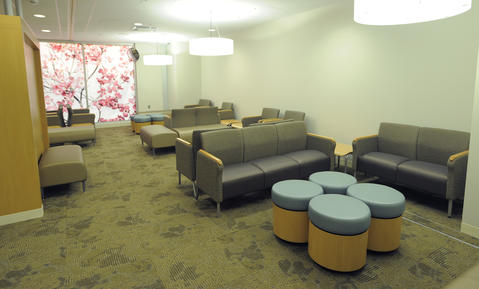 The new waiting room is much larger than the old one and also more private.