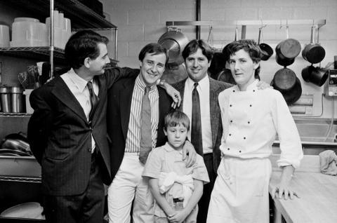 From left, Mark Rosenstein, Bradley Ogden, Cory Ogden, Norman Van Aken and Charlie Trotter at the opening of Charlie Trotter's restaurant on August 31, 1987.
