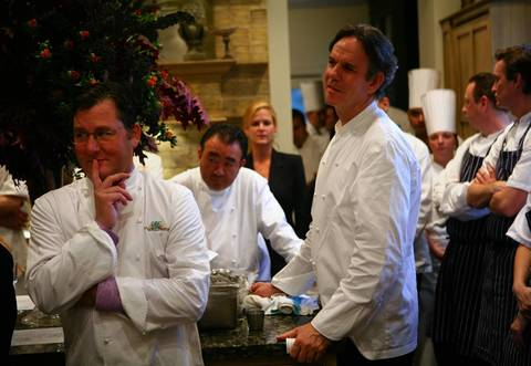 Charlie Trotter, left, is joined by renowned chefs Tetsuya Wakuda, back, and Thomas Keller, right, before a dinner marking the 20th anniversary of his restaurant in 2007.