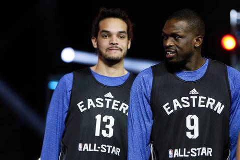 Joakim Noah and Luol Deng are introduced during practice.