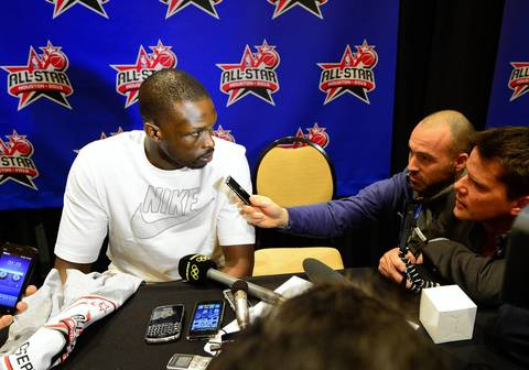 Luol Deng answers questions during media availability on Friday.