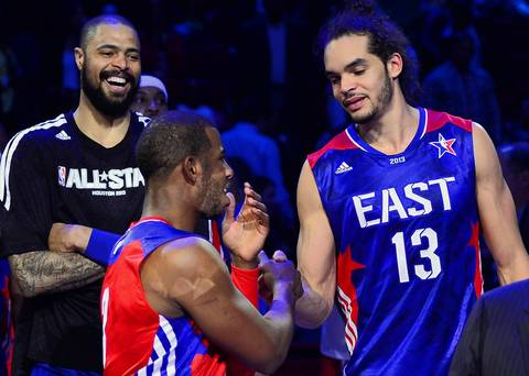 NBA All-Star MVP Chris Paul is congratulated by Joakim .