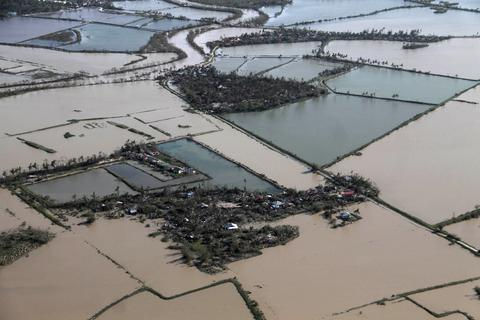 An aerial view shows flooded rice fields after super Typhoon Haiyan battered Tacloban city, central Philippines, on Nov. 9.